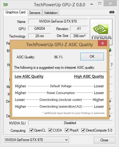 برنامه GPU-Z در حال نمایش ASIC quality